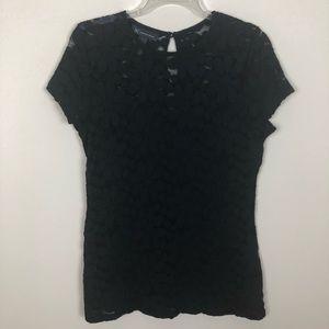 🦋2/$16🦋  INC Black Daisy Lace Pattern Cap Sleeve